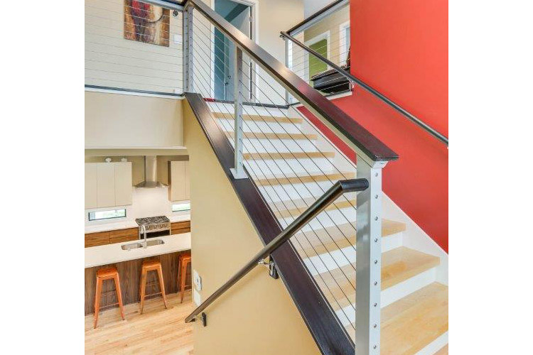 Minneapolis Modern Home Stainless Steel Marine Cable Staircase