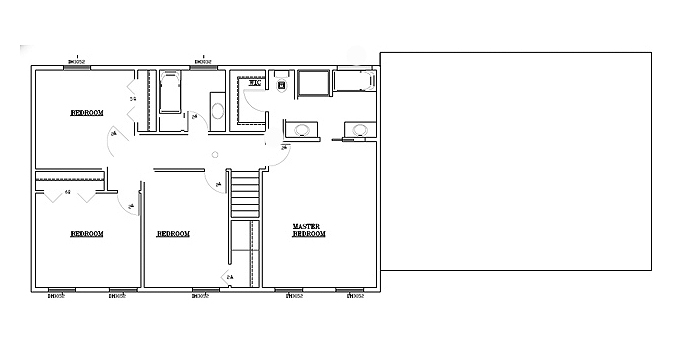TJB Bethany Plan #197 Upper Level Floor Plan