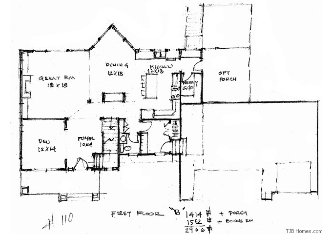 TJB Plan #110 Main Level Floor Plan
