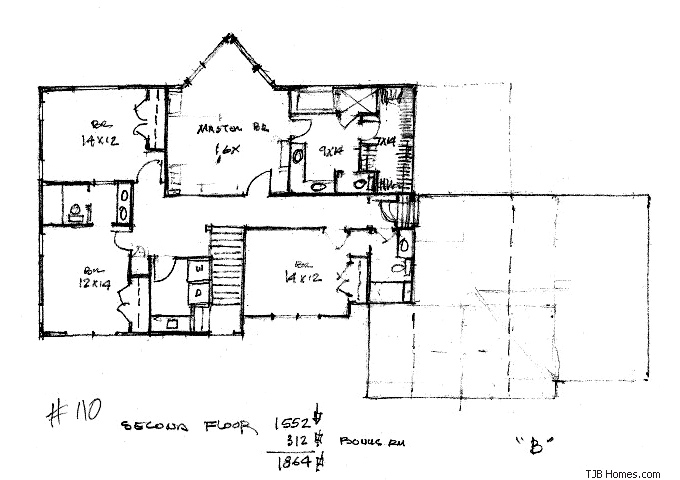 TJB Plan #110 Upper Level Full Floor Plan