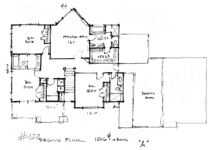 Plan #120 Upper Level Plan