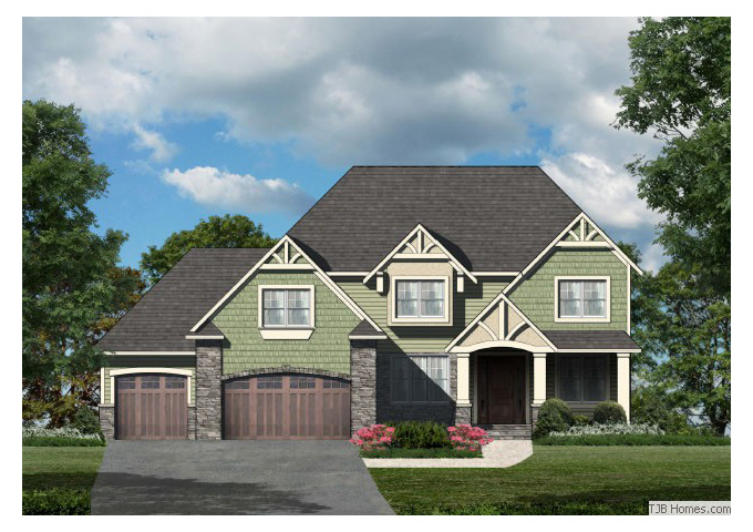 TJB Plan #205 Home Front Color Rendering