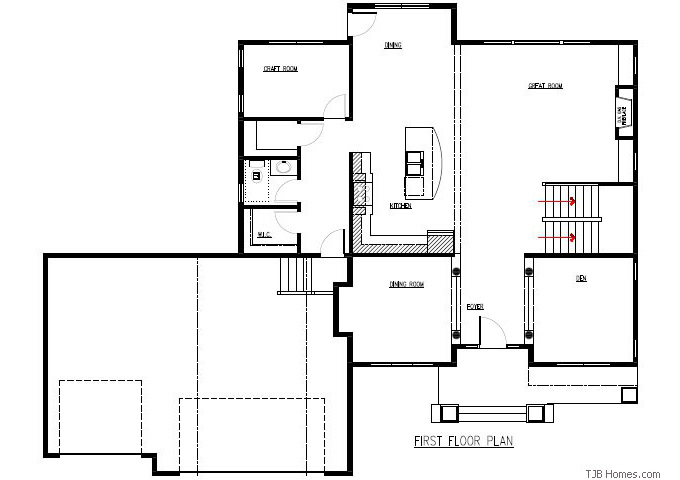 TJB Plan #205 Main Level Floor Plan