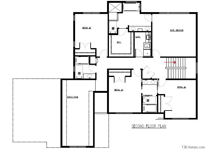 TJB Plan #205 Upper Level Floor Plan
