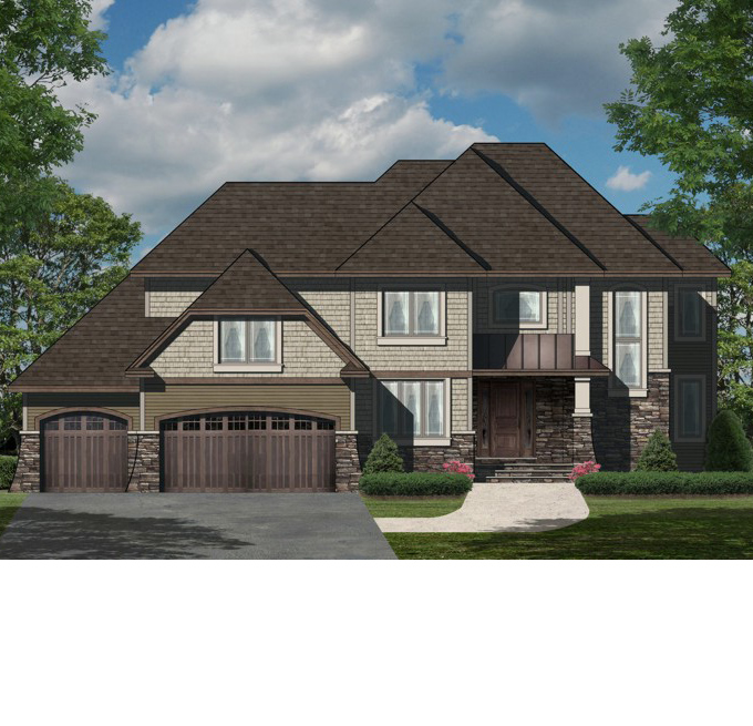 TJB Plan #220 Home Front Color Rendering