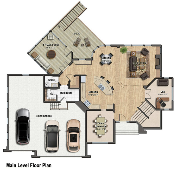 home floor plans color. TJB Plan  220 Main Level Floor Color Rendering Two Story Plans Over 3 000 Sq Ft Homes