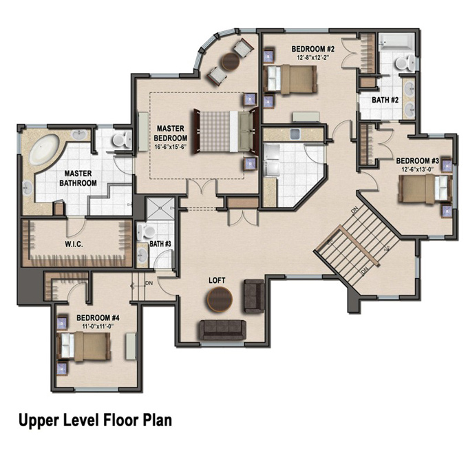 TJB Plan #220 Upper Level Floor Plan Color Rendering