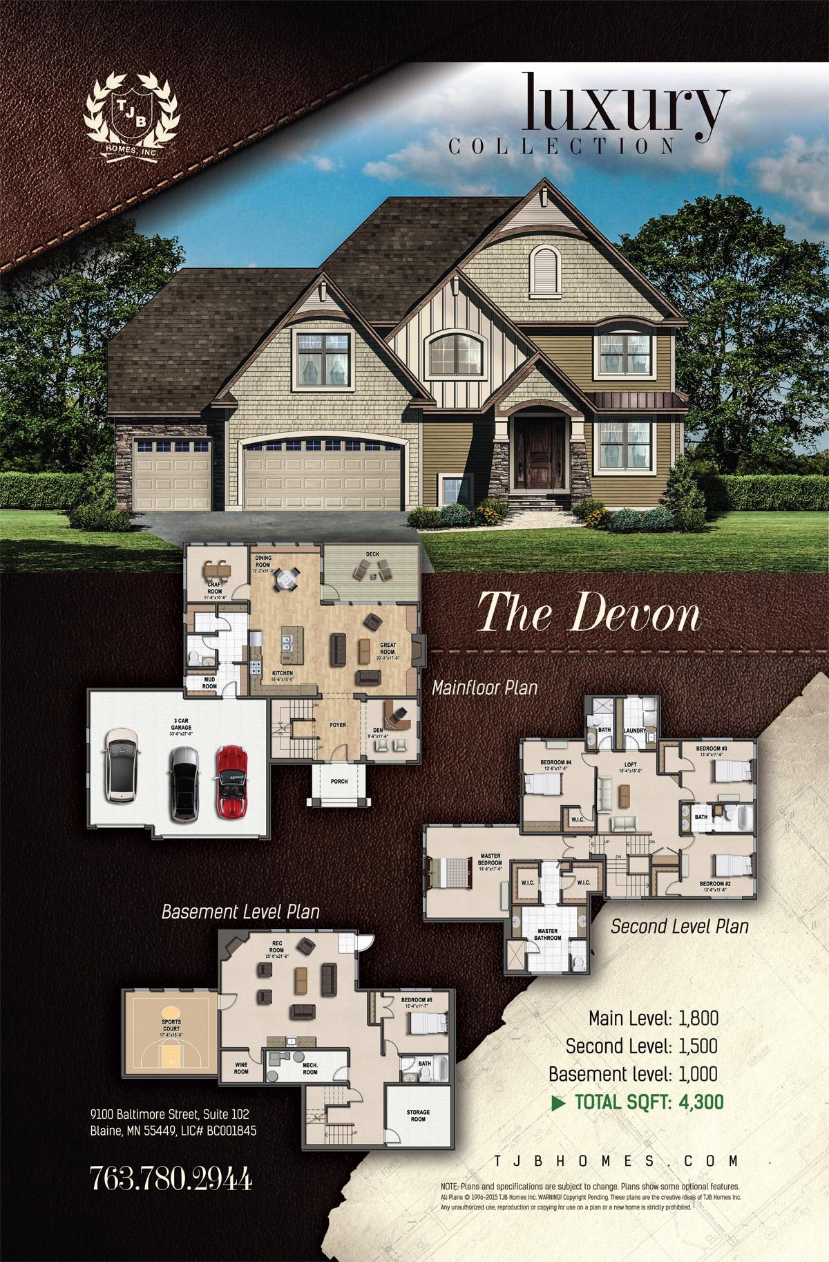 Gainesville Luxury Designer Home: The Devon Floor Plan