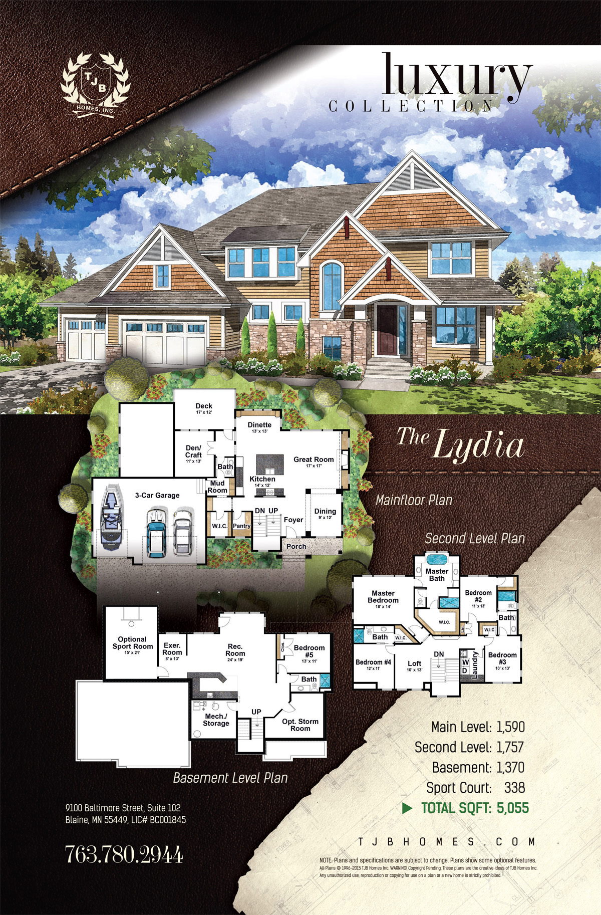 Two Story Over 3,000 Sq Ft Home Plans - The Lydia
