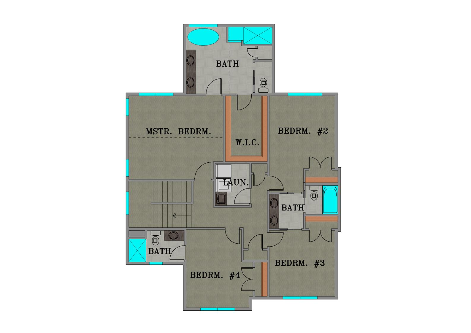 Second Floor Plan Color Rendering