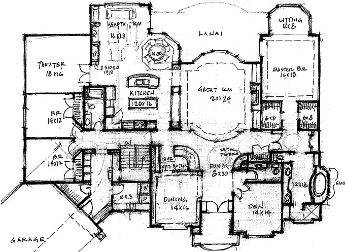 Plan #205171 Main Level Plan