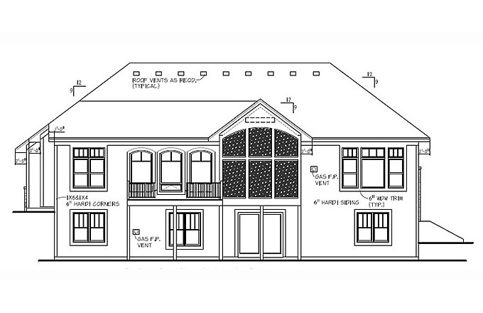 Plan #207185 Rear Elevation