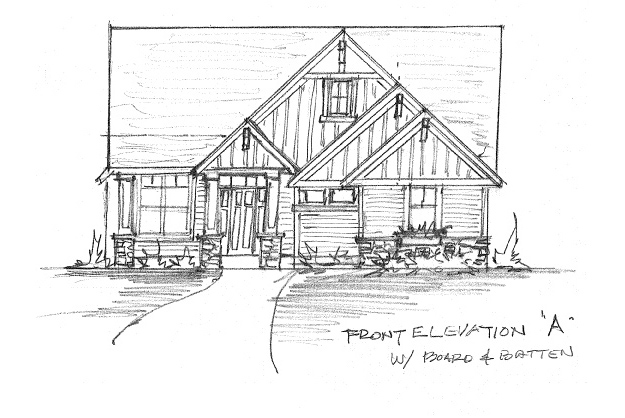 Front Elevation Option A with Board & Batten