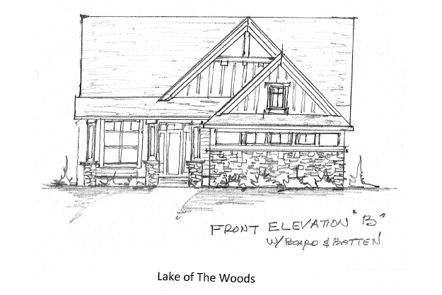 Front Elevation Option B with Board & Batten