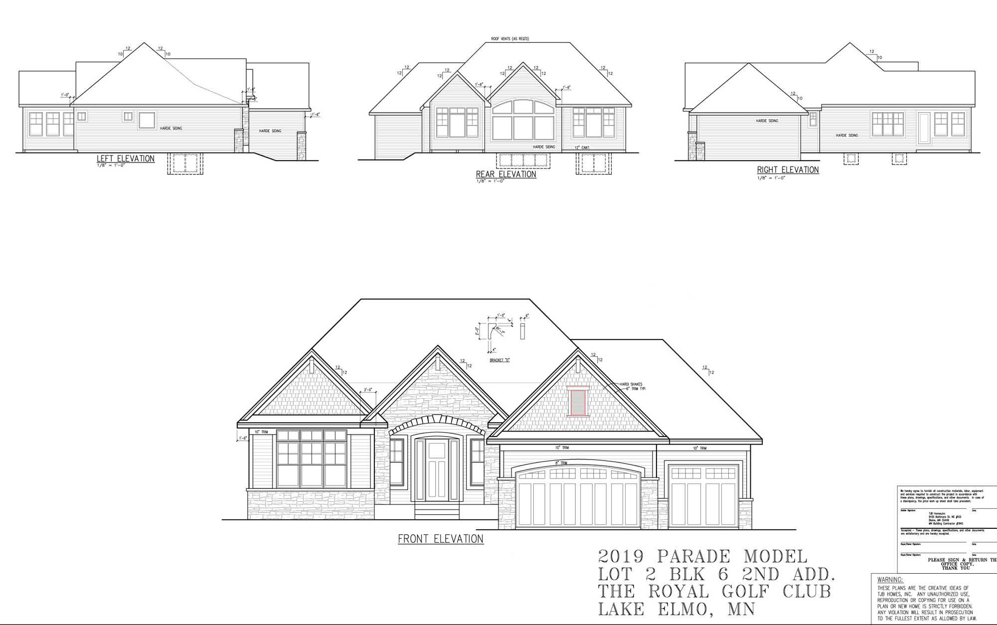 TJB Plan #499 Home Plan Front, Rear and Side Elevation Plans