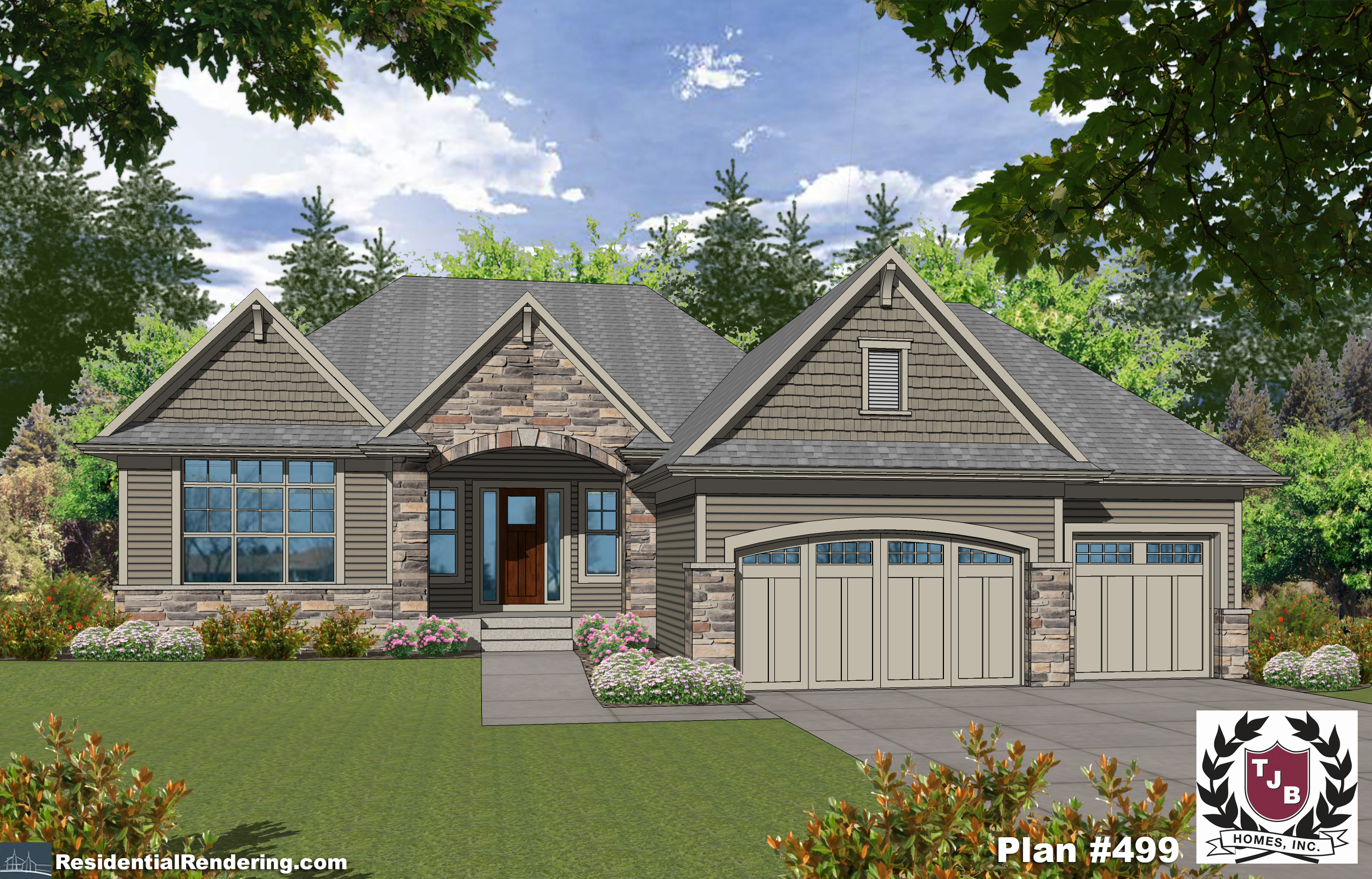 TJB Plan #499 Home Plan Front Color Rendering