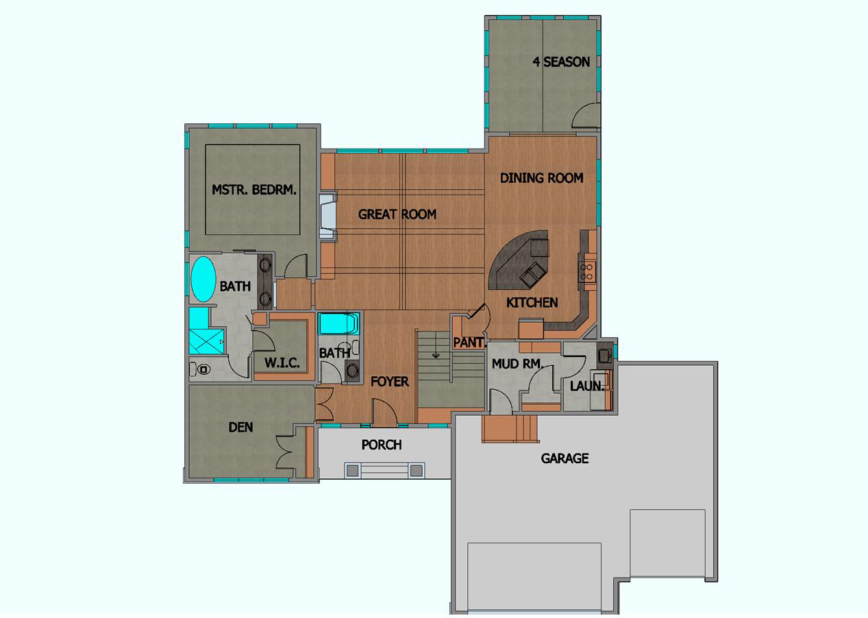 TJB Plan #499 Home Plan Main Floor Plan Color Rendering