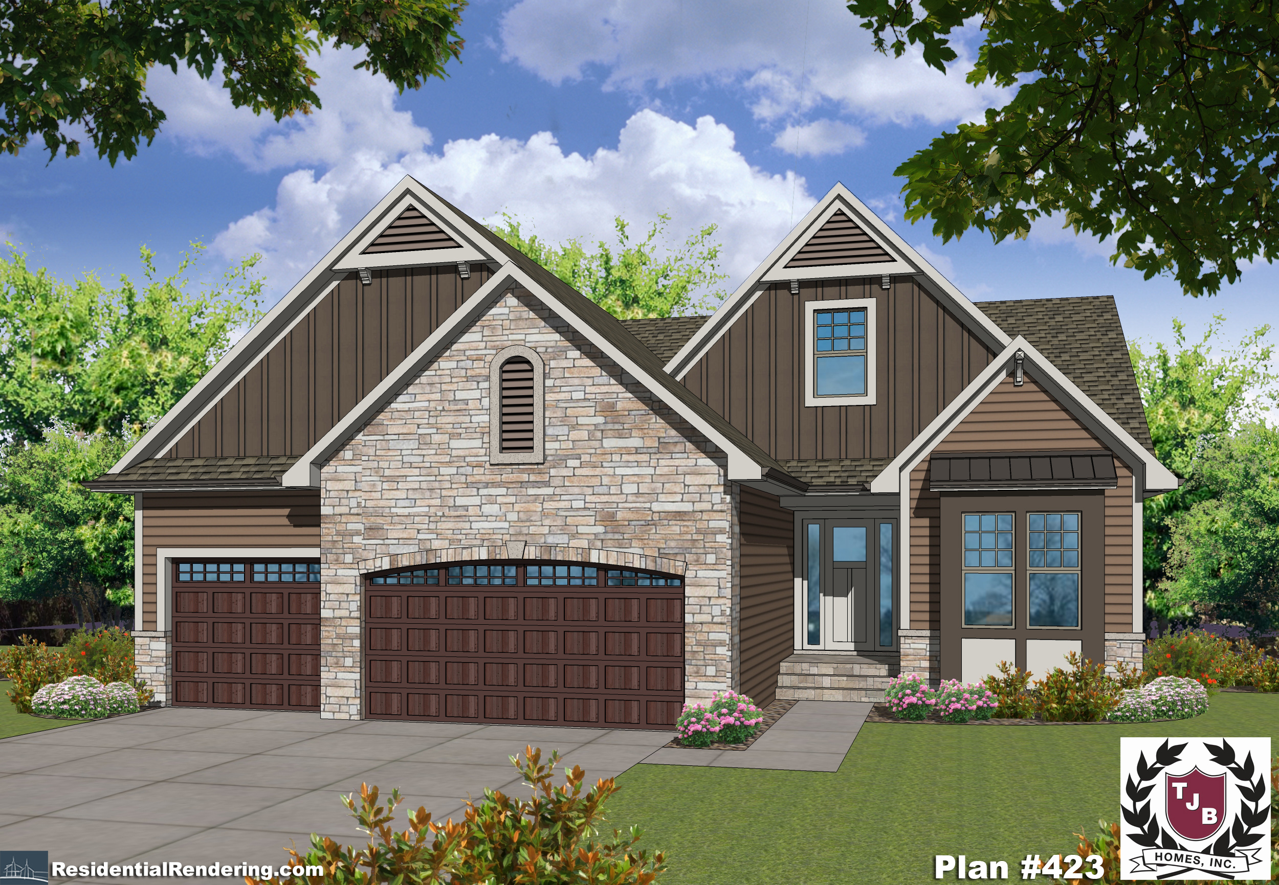 Great exterior design - color rendering of home plan