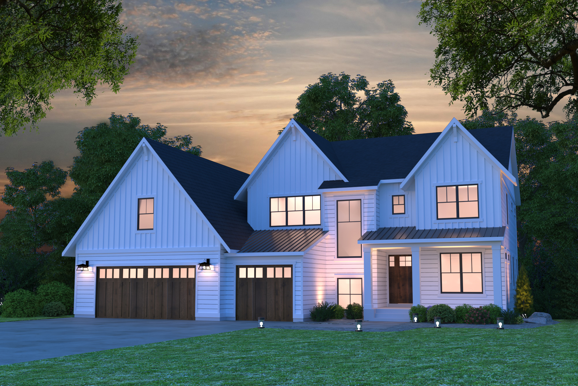 Home Plan Color Rendering Front at Night