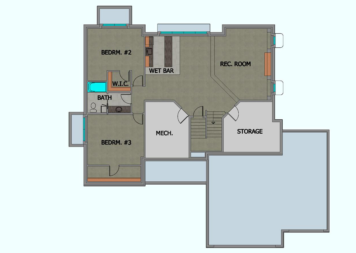 TJB Plan #499 Home Plan Basement Floor Plan Color Rendering