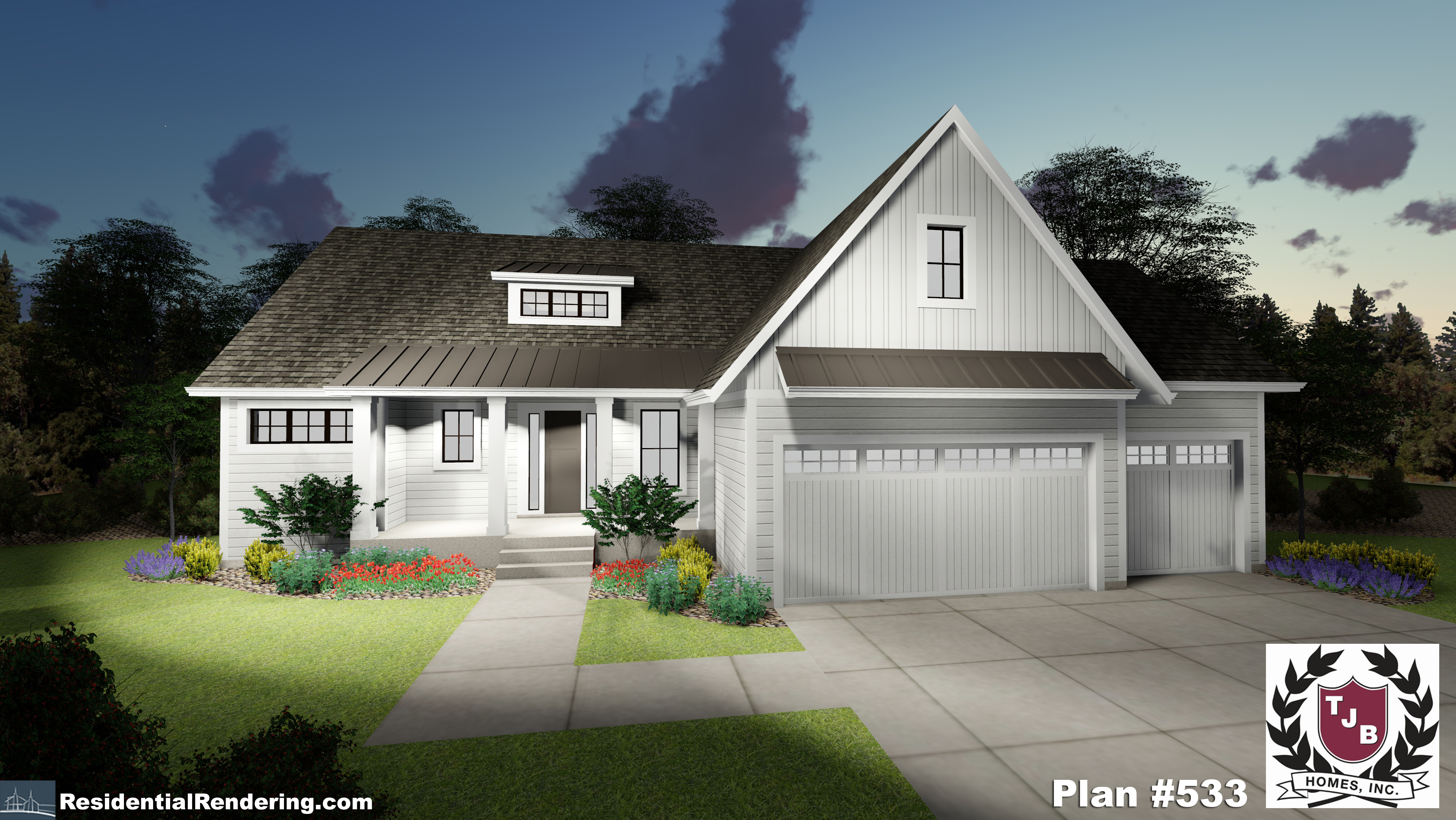 Home Plan Front Color Rendering at Night