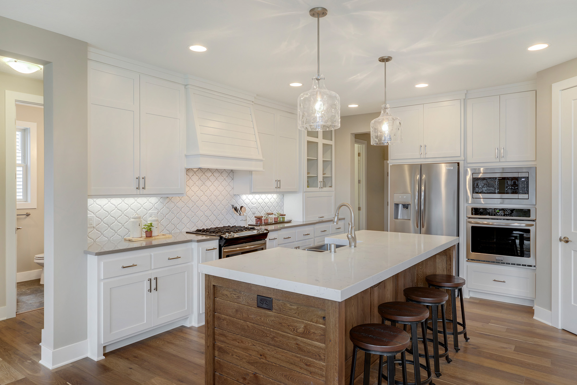 Great Kitchen Plan with Cabinets to ceiling