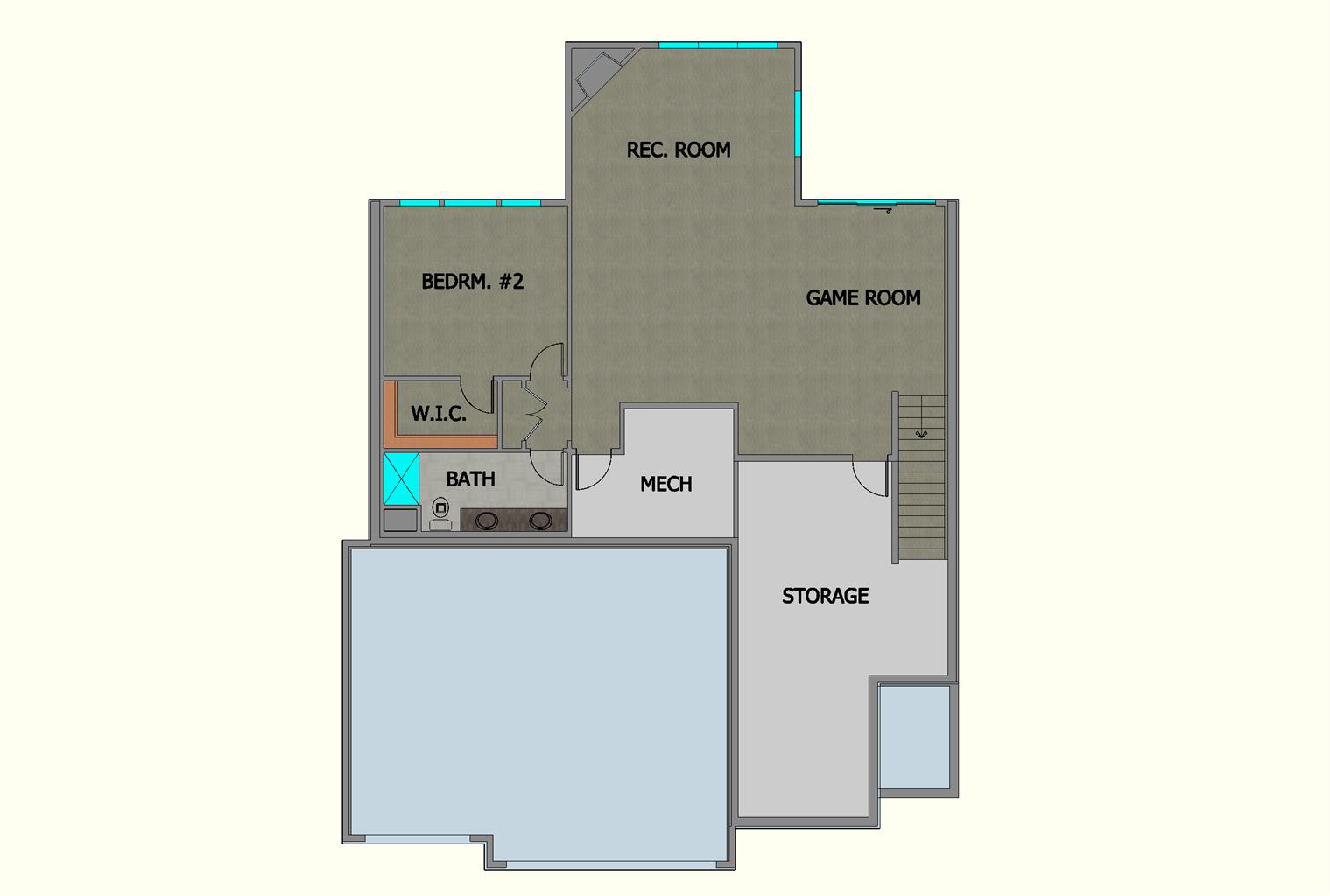 Lake Harriet TJB Home Plan #495 Basement Floor Color Rendering