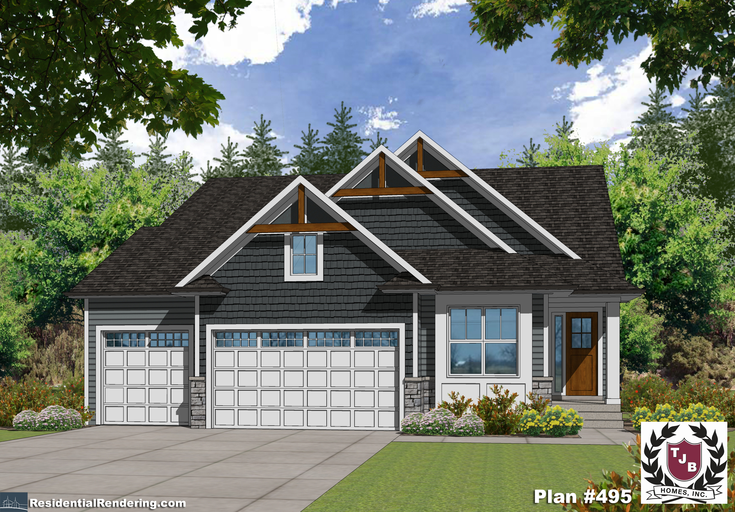 Lake Harriet TJB Home Plan #495 Front Color Rendering
