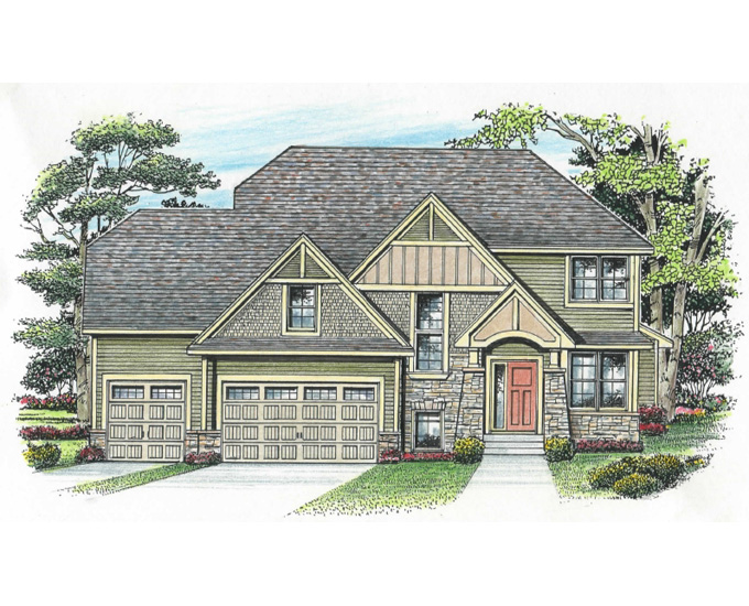 Lakes Model Home Front Color Rendering