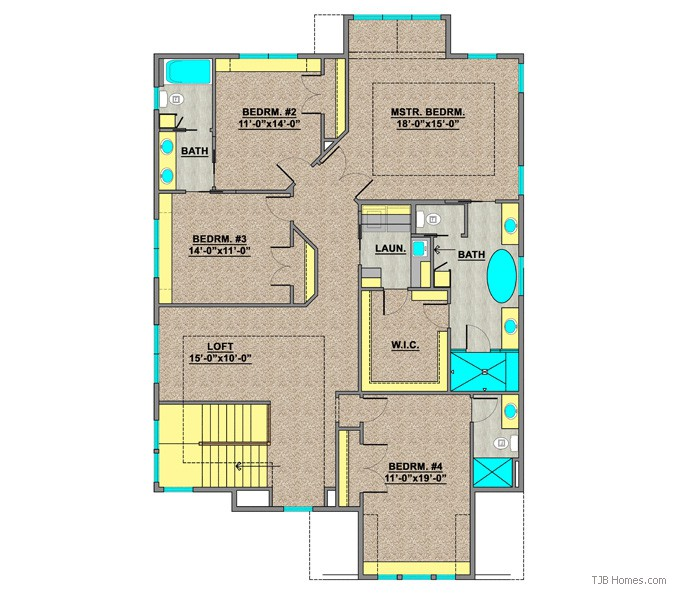 TJB414 CELINA II UPPER LEVEL LEVEL FLOOR PLAN
