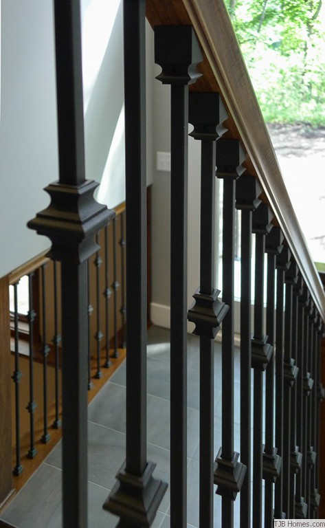 Decorative Iron Baluster Spindles in Stairwell