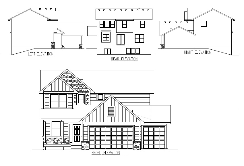 TJB Maddy Home Plan #360 Elevations Floor Plan
